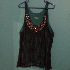 Lane Bryant Sleeveless Emerald Blouse w/ Lace